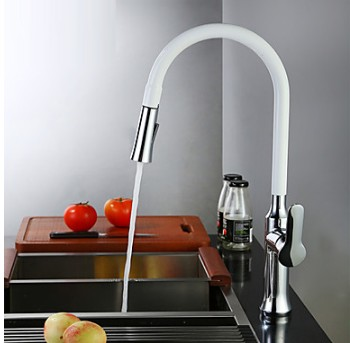 Contemporary Standard Spout Vessel Pullout Spray Rotatable with Ceramic Valve Single Handle One Hole for Chrome TP2801