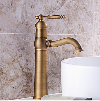 Bathroom Sink Faucet with Antique Brass Finish-Bamboo Shape Design TP0402HA