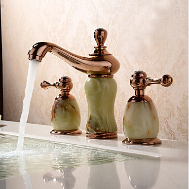 Contemporary / Modern Widespread with Ceramic Valve Two Handles Three Holes for Ti-PVD Bathtub Faucet / Bathroom Sink TP6005R