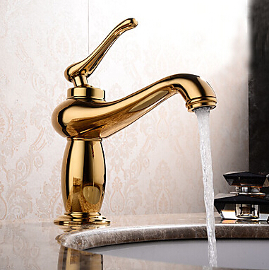 Contemporary / Modern Centerset Widespread with Ceramic Valve Single Handle One Hole for Ti-PVD , Bathroom Sink Faucet TP6004G