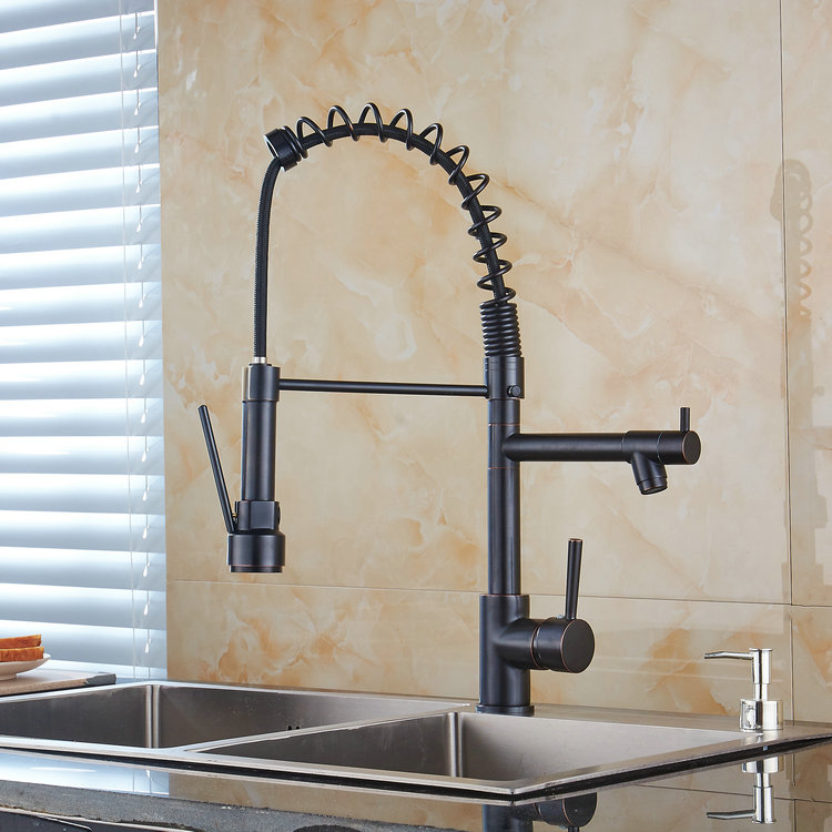 High Quality Antique Brass Oil-rubbed Bronze Single Handle One Hole Rotatable Kitchen Sink Faucet