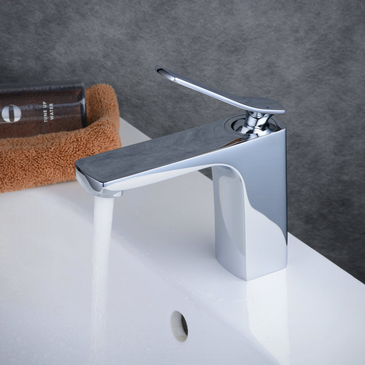 Contemporary Centerset Widespread with Ceramic Valve Single Handle One Hole for Chrome Bathroom Sink Faucet TP0538