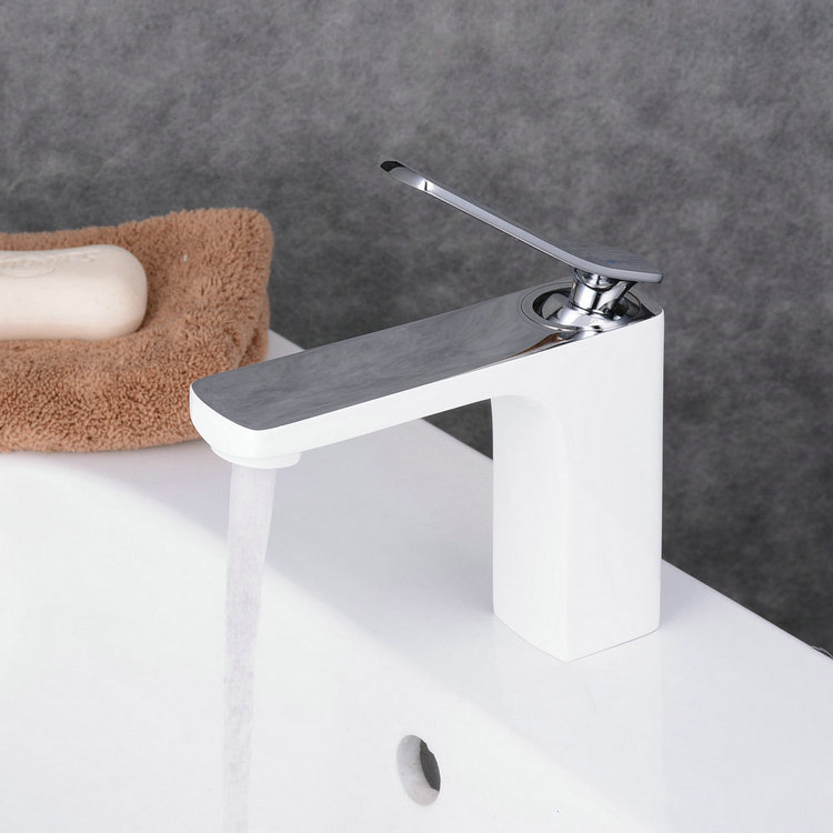 Contemporary Style Painting White Single Handle Single Hole Waterfall Bathroom Basin Sink Faucet TP0538CW