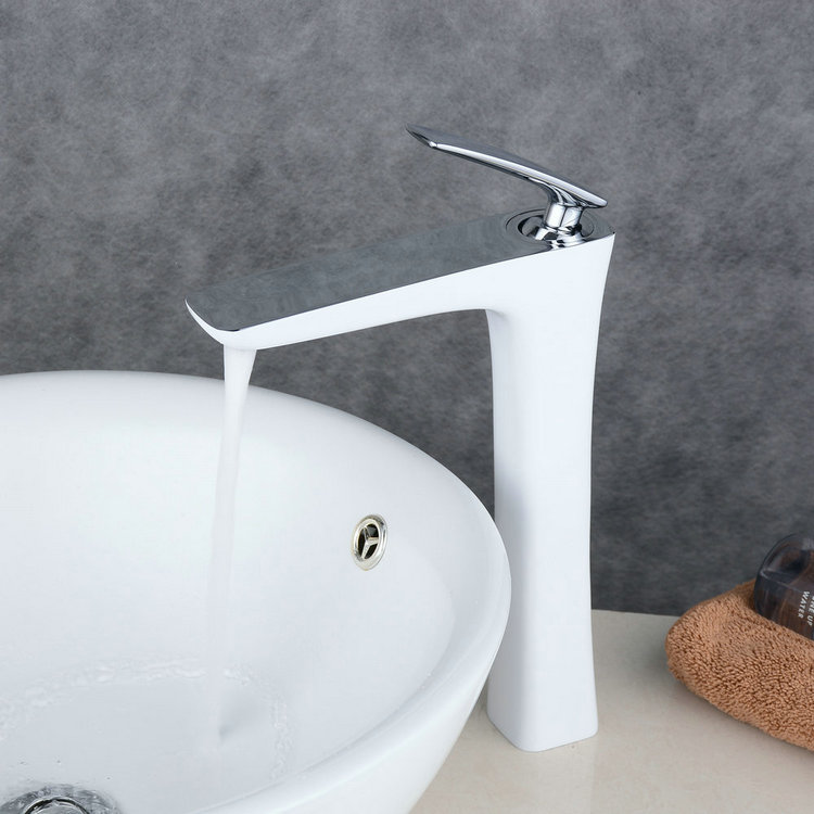 Contemporary Style Painting White Single Handle Single Hole Waterfall Bathroom Basin Sink Faucet TP0539HCW