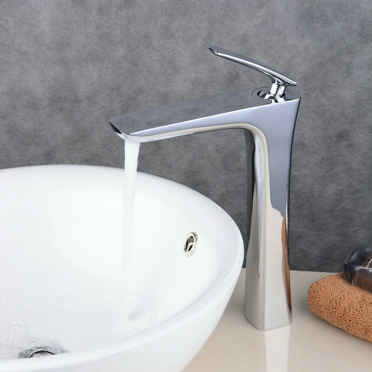 Contemporary Centerset Widespread with Ceramic Valve Single Handle One Hole for Chrome Bathroom Sink Faucet FA0539H