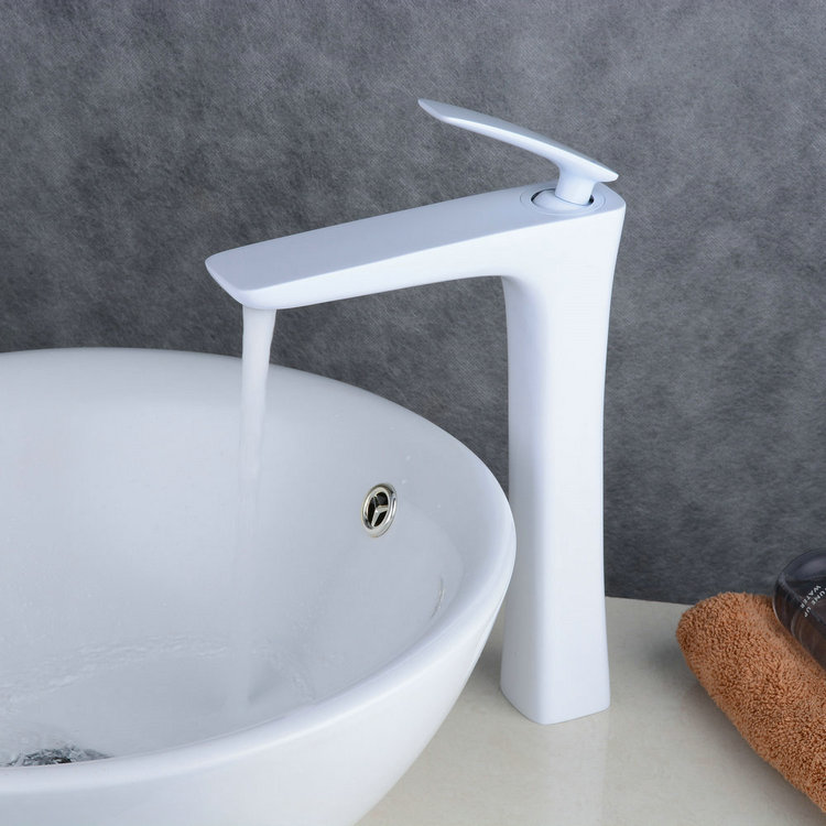 Contemporary Style Painting White Single Handle Single Hole Waterfall Bathroom Basin Sink Faucet TP0539HW