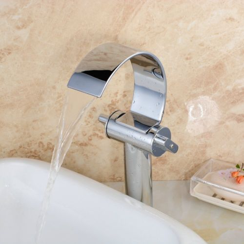 Deck Mounted tall body Single Handle Centerset Bathroom Tap for Vessel Sink