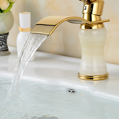 Contemporary Waterfall Brass Imitation jade Ti-PVD Bathroom Sink Faucet - Golden