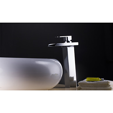 Charmingwater Contemporary Color Changing LED Waterfall Chrome Brass Bathroom Vessel Faucet