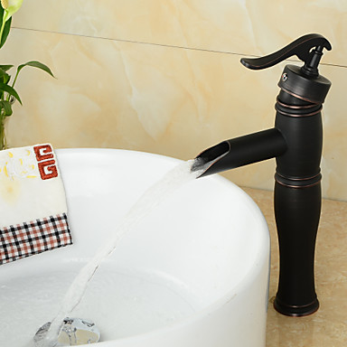 Antique Style Orb Single Handle One Hole Hot And Cold Water Bathroom Sink Faucet Black123