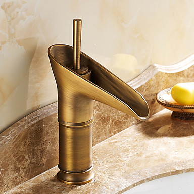 Antique Brass Finish One Hole Single Handles Bathroom Sink Faucet