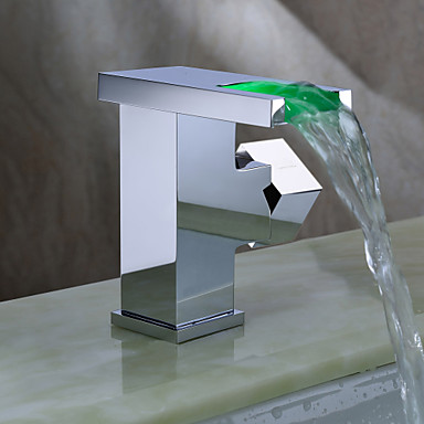 Sprinkle® by Lightinthebox - Contemporary Color Changing LED Bathroom Sink Faucet (Waterfall)
