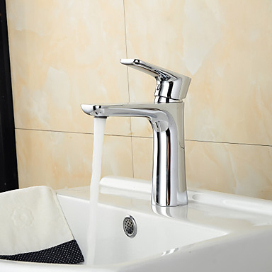 Contemporary Chrome Brass Hot and Cold Single Handle Bathroom Sink Faucet Basin Mixer