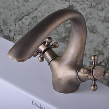 Antique Brass Finish Single Hole Single Handle Bathroom Bathroom Sink Faucet