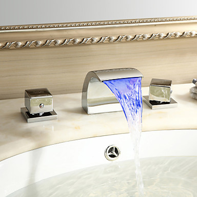 Sprinkle® by Lightinthebox - Color Changing LED Waterfall Widespread Bathroom Sink Faucet (Chrome Finish)