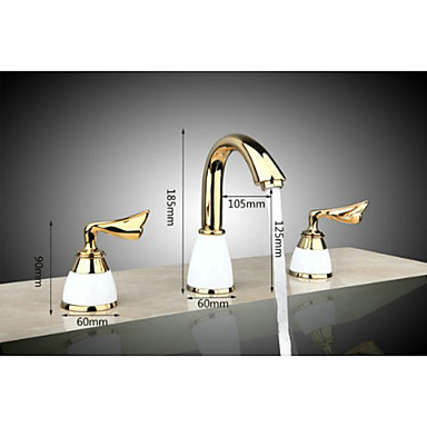 3 Pcs Golden Color Tap 2 Handle Waterfall Tap Bathroom Basin Sink Bathtub Mixer Faucet