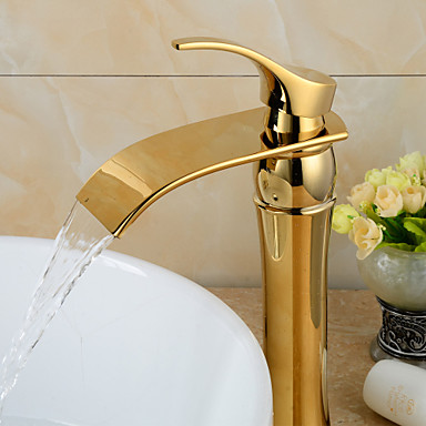 contemporary waterfall gold heightening bathroom basin. Black Bedroom Furniture Sets. Home Design Ideas