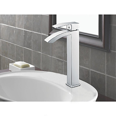 Greenspring Tall Waterfall Spout Single Handle Bathroom Sink Vessel Faucet Basin Mixer Tap Chrome Polished