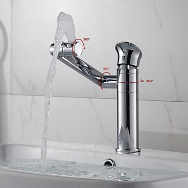New Arrival Bathroom Brass Chrome Finish 360° Rotating Spout and Body Single Handle Single Hole Basin Faucet