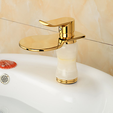 Contemporary Waterfall Brass Imitation jade Oil-rubbed Bronze Bathroom Sink Faucet -Black