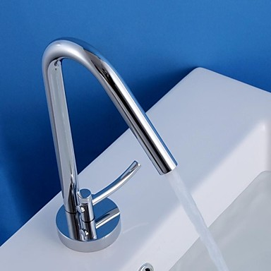 HPB Contemporary Chrome Finish Brass One Hole Single Handle Sink Faucet
