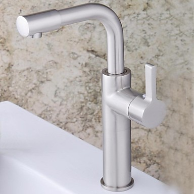 Contemporary Nickel Finish Single Handle Single Hole Brass Bathroom Sink Faucet(Tall)