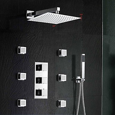 "Brass Thermostatic Shower Valve Stainless Steel 12"" Square Wall Mounted Rain Bathroom Shower Faucet Spa Body Massage"