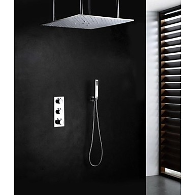 Shower Faucet Contemporary Thermostatic / Rain Shower / Handshower Included Brass Chrome