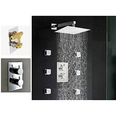 10 '' Rain And Waterfall Shower Head And Spray Jet Dual Thermostatic Shower Faucet