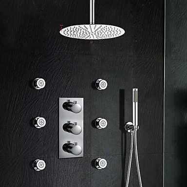 "Luxury Thermostatic Stainless Steel 12"" Bathroom Shower Faucet With Jets Sprayer Hand Shower"