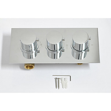 10'' High Quality Brass Thermostatic Mixing Valve Wall Mounted Three Functoins Shower Set Faucet