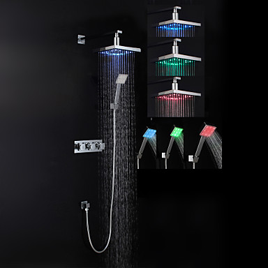 Shower Faucet Contemporary LED / Rain Shower / Handshower Included Brass Chrome
