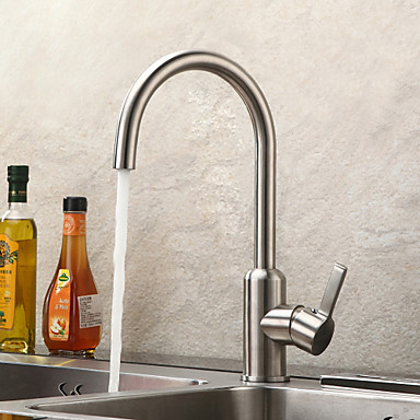 Sprinkle® by Lightinthebox - Contemporary Brushed Chrome Finish Stainless Steel Kitchen Faucet