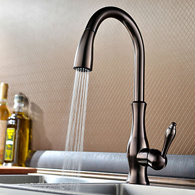 Traditional Oil-rubbed Bronze Finish One Hole Single Handle Deck Mounted Rotatable Pullout Spray Kitchen Faucet