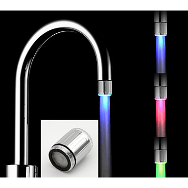 Battery-Free Stylish Water Powered Kitchen Temperature Control Heat Sensor LED Faucet Light