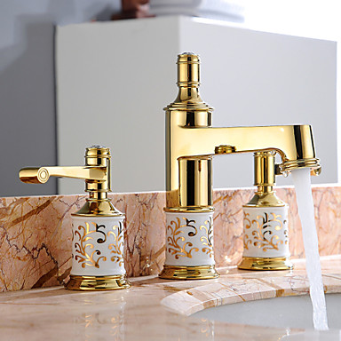 American Style Golden Brass Faucets Three Holes Basin Faucet