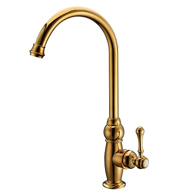 Antique Ti-PVD Finish Brass One Hole Single Handle Deck Mounted Kitchen Faucet