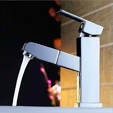 Square Design Single Handle Brass Material Pull Out Faucet Basin Or Kitchen Mixer