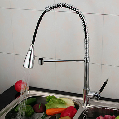 Single Handle Solid Brass Spring Pull Down Kitchen Faucet - Chrome Finish