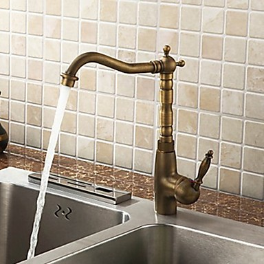Antique Brass Deck Mounted Single Handle Cold and Hot Kitchen Faucet