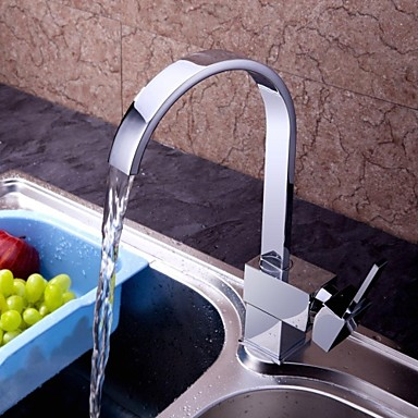Contemporary Chrome Finish Brass Single Handle One Hole Waterfall Kitchen Faucet