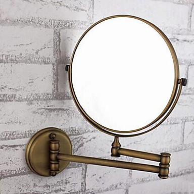 360 Degree Rotating 2X Magnifying Antique Brass Plating Finished 8-inch Solid Brass Wall Mount Cosmetic Mirror