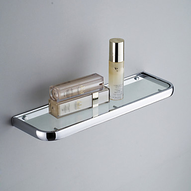 Contemporary Brass Wall Mounted Bathroom Glass Shelves