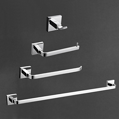 4-Piece Bath Collection Set,Contemporary Brass Chrome Finish,Bathroom Accessory Sets