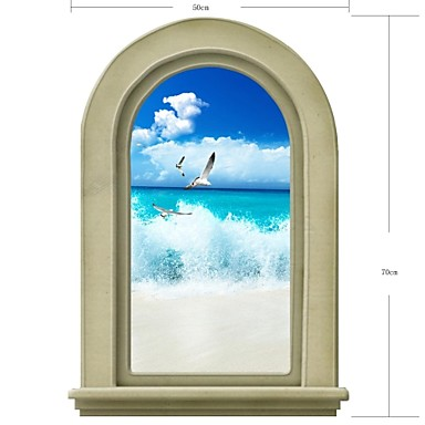 3D Wall Stickers Wall Decals, Natural Landscape Bathroom Decor Mural PVC Wall Stickers
