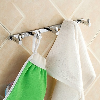 Bathroom Soild Brass Chrome Finish Robe Hook Towel Coat Bag Wall Hanger Four Hooks
