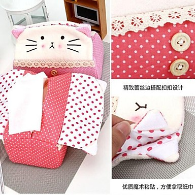 Cat Shaped Repeated Use Textile Tissue box(Random Color)