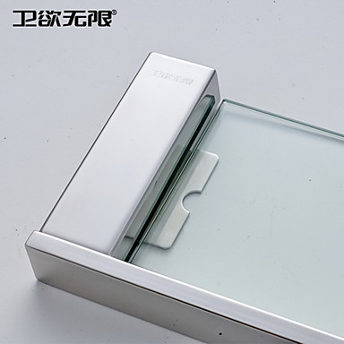 WeiYuWuXian® Contemporary Quadrate Stainless Steel Glass Shelf