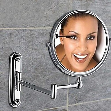 360 Degree Rotating 2X Magnifying Chrome Plating Finished 8-inch Solid Brass Wall Mount Cosmetic Mirror