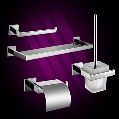 4-Piece Bath Collection Set,Contemporary Mirror Polished Finish Stainless Steel Material,Bathroom Accessory Sets